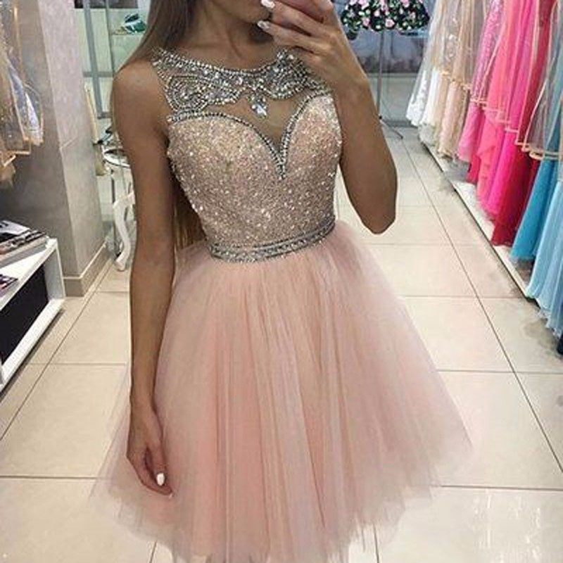 Short Homecoming Dresses 2019 Scoop Sleeveless Cover Back Tulle With Crystal Cocktail Dress 2019 Short Prom Dress Party Gowns(China)