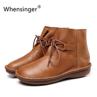 Whensinger 2017 New Women Shoes Genuine Leather Boots Lace Up Retro Design 0502