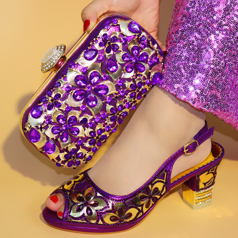 Purple Color Italian Shoes with Matching Bags Set Decorated with Rhinestone African Wedding Shoe and Bag Set Party Shoes and Bag new fashion italian shoes with matching bags for party black color african shoes and bags set for wedding 10 cm shoe and bag set page 3