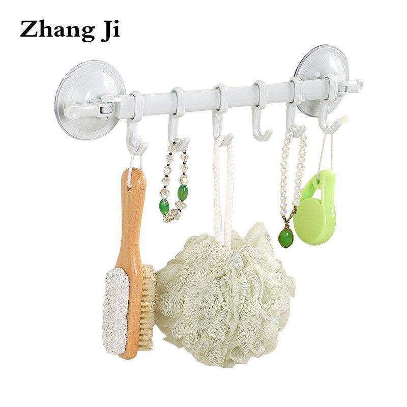 ZhangJi Bathroom Multi-functional Corner Shelf Simple Light Wall Shelf Towel Racks With Hooks Kitchen Suction Cup Hook Rack
