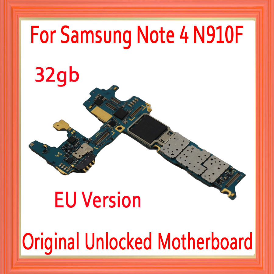 with Android System <font><b>for</b></font> <font><b>Samsung</b></font> <font><b>Galaxy</b></font> <font><b>Note</b></font> <font><b>4</b></font> N910F <font><b>Motherboard</b></font>,32gb Original unlocked <font><b>for</b></font> <font><b>Note</b></font> <font><b>4</b></font> N910F <font><b>Mainboard</b></font>,Free Shipping image