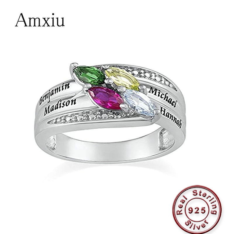 Amxiu Custom Four Names 925 Sterling Silver Ring with Birthstones Personalized Zircons Rings For Women Mother