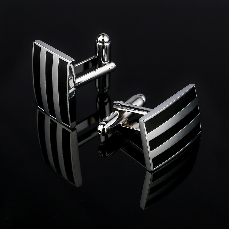 Classic Silver Plated Black Enamel Copper Men's Cufflink Luxury gift Party Wedding Suit Shirt Buttons Stripe Cufflinks