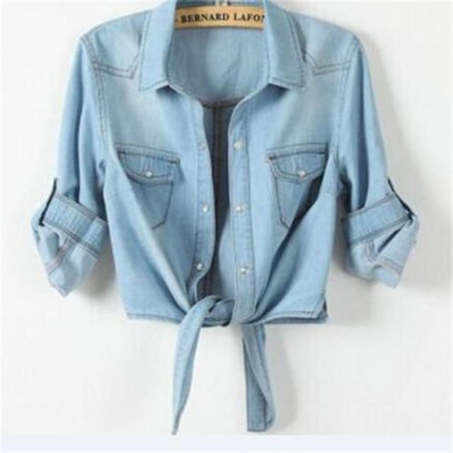 Casual Cropped sleeves Shirt female Denim Shirts women's Fashion Short Blouse Girls Top 1