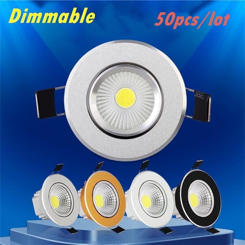 50pcs lot Dimmable Led downlight light COB Ceiling Spot Light 6w 9w 12w 85 265V ceiling