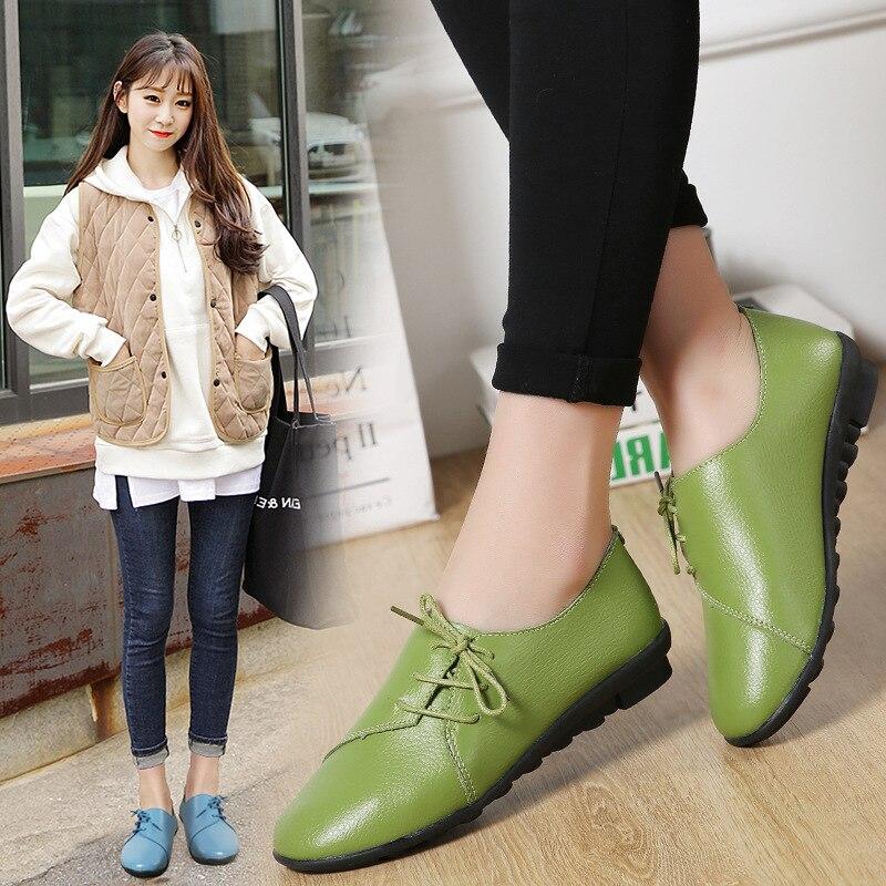 2019 Taille Moyen Blue Mujer Casual vert Femmes Ronde Grande Mou blanc Noir De D'âge Printemps Tête Nouveau light Zapatos Chaussures En Fond Cuir fqfrOR