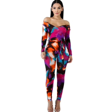 new womens print jumpsuit nightclub sexy tight color one-piece pants