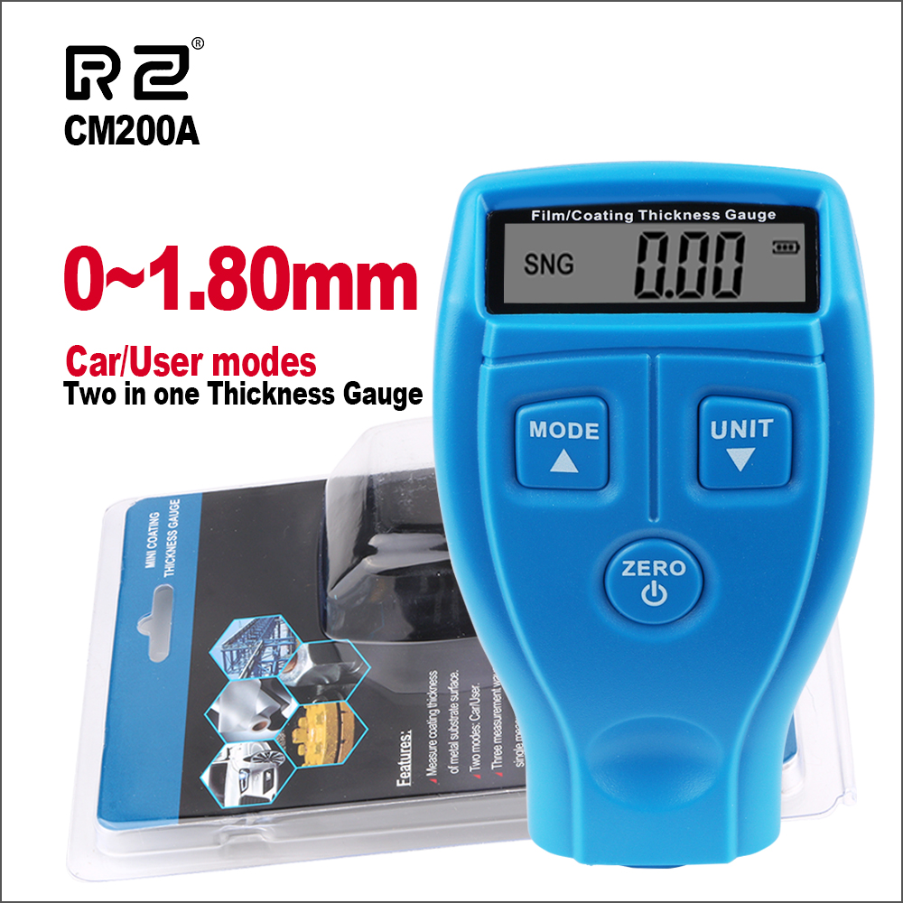 RZ Thickness Gauges Paint Coating Thickness Gauge Digital Car Thickness Gauge Tester GM200A With Backlight Film Thickness Gauge