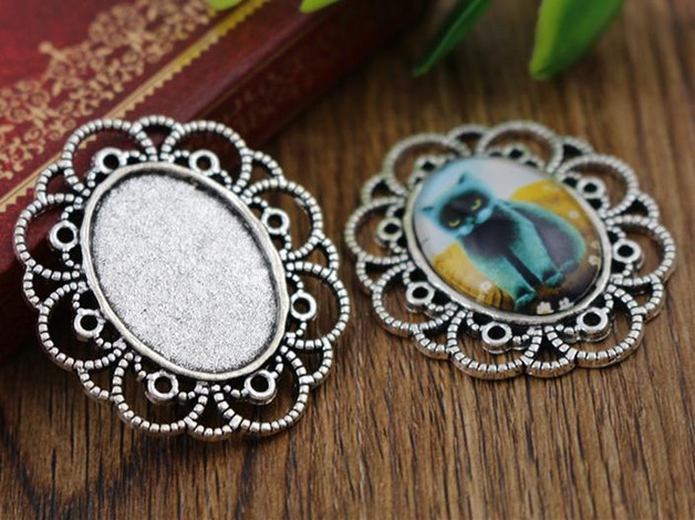 4pcs 18x25mm Inner Size Antique Silver Flowers Style Cameo Cabochon Base Setting Charms Pendant Necklace Findings  (C2-33)
