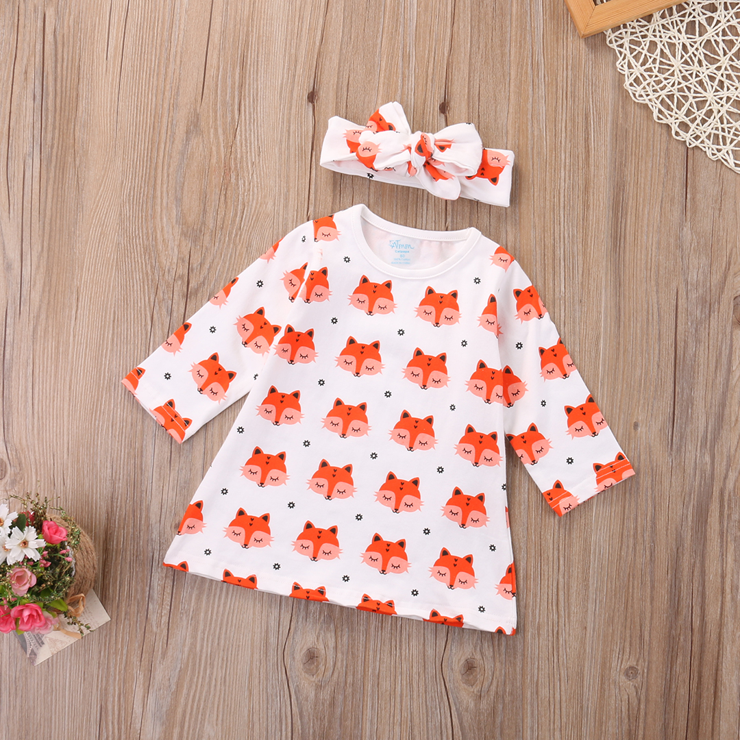 2017-Spring-Newborn-Baby-Girl-Clothes-Long-Sleeve-Cotton-Fox-Dress-Headband-2PCS-Outfit-Infant-Bebes-Casual-Dresses-3