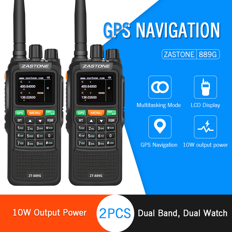 2 pz ZASTON 889g Portatile A Due Vie Radio 5 km-10 km UHF/VHF 10 w 999CH 3000 mah Walkie Talkie Ham Radio CB Comunicador per Esplorare