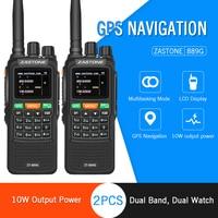 2pcs ZASTON 889G Portable Two Way Radio 5km 10km UHF/VHF 10W 999CH 3000mAh Walkie Talkie Ham CB Radio Comunicador for Explore