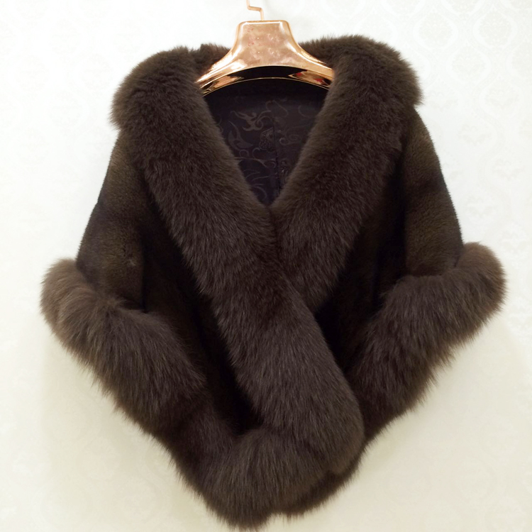 New fashion winter mink fur shawl real fur cape for women