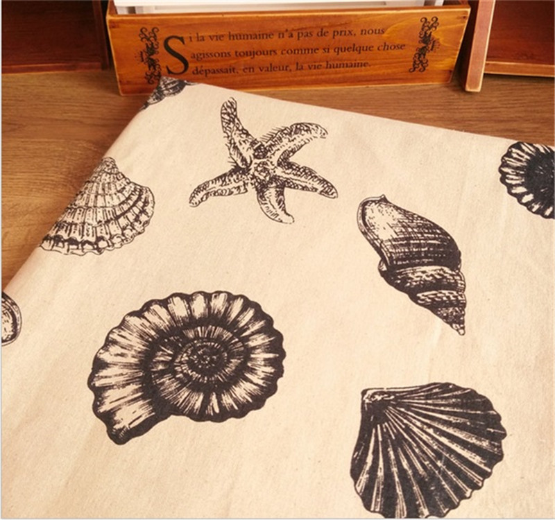 <font><b>150</b></font> cm X <font><b>50</b></font> cm sea shell printed fabric linen fabric for sofa luggage decorative cloth image
