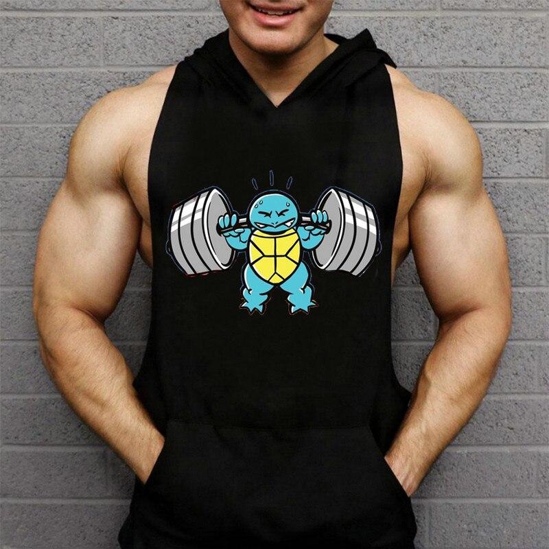 Regatas masculino Bodybuilding Fitness clothing Hooded Men   Tank     Top   workout print Hoodie Vest Stringer sportswear Undershirt