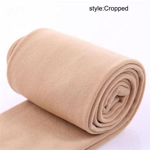 Осенне-зимние модные женские теплые флисовые зимние тянущиеся леггинсы с теплой флисовой подкладкой, тонкие теплые штаны BFJ55 - Цвет: Nude Cropped