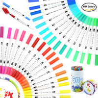60 Colors Dual Tip Brush Pens Watercolor Markers 0.4mm Colored lines Pen Color Marker Set for Adult Coloring Books Paint Pens