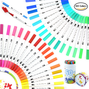 60 kolory Podwójny Końcówkę Pędzla Długopisy Markery Artystyczne 0.4mm Porządku wkładki i Końcówki Pędzla Akwarela Długopis Zestaw dla Dorosłych kolorowanki