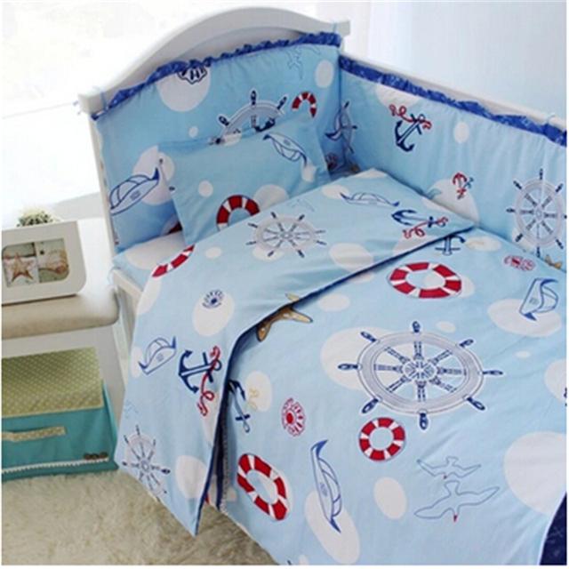 Bumper Cama de bebé 100% algodón de Color Rosa bebé juego de cama edredón Faldón del parachoques Funda de Colchón 4-10 unids ropa de cama cuna conjunto