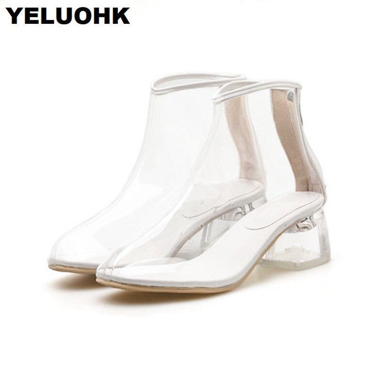 Talons Clair Casual Mode 2018 Pour Transparent Bottes yellow Silver Talon Chaussures Femmes Hauts Nouveau white Cheville Pompes f8qRBHwX