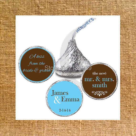 Wedding Hershey Kiss Stickers Favors Personalized Labels Turquoise Black Hearts Love Is Sweet