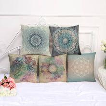 Decorative Pillow Case Mandala Geometric Floral Pattern Pillowcase 17.5 Inches Cotton Linen Chair Seat Throw Pillow Cover P1043