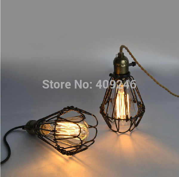 Vintage Style Industrial Retro Opening And Closing Hanging Light Pendant Fish form droplight Wire Cage Ceiling Lamp Cafe Bar