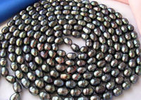 9 10mm black rice freshwater cultured pearl necklace 100