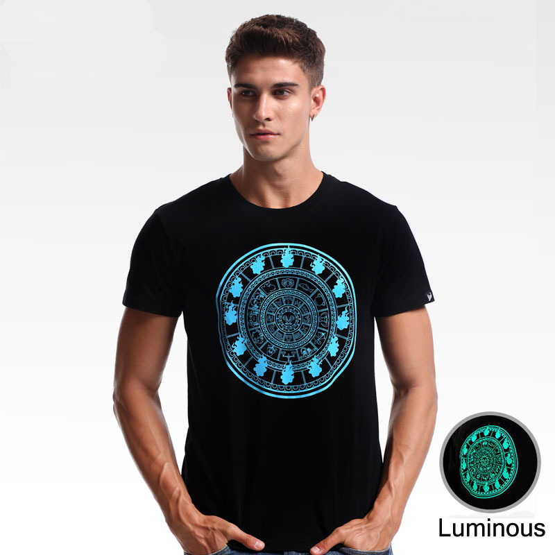 Luminous Saint Seiya Fire Clock T-shirts High Quality Men Boy Black 3XL Plus Size Tee Shirt