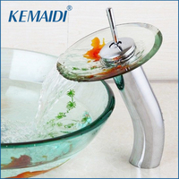 KEMAIDI Bathroom Sink Tap Mixer Faucet Goldfish Design Chrome Brass Transparent Tempered Glass Waterfall Faucet Glass Water Tap