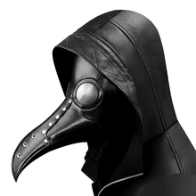 Black PU Leather Plague Doctor Bird Mask Long Nose Beak Scary Party Steampunk Cosplay Props