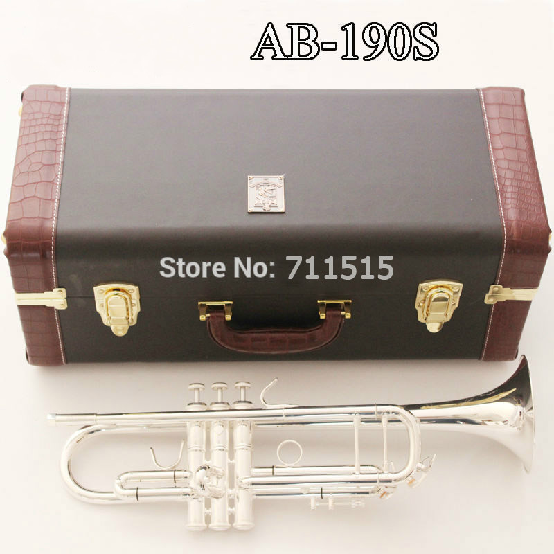 New AB-190S Brand Quality Bb Trumpet Brass Tube Silver Plated Professional Musical Instruments With Case Mouthpiece Accessories silver plated double french horn f bb 4 key brand new with case
