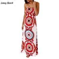 Loneyshow Summer Style Elegant Casual Bohemian Strapless Maxi Dresses 2017 New Arrival Sleeveless Sexy Long Dress
