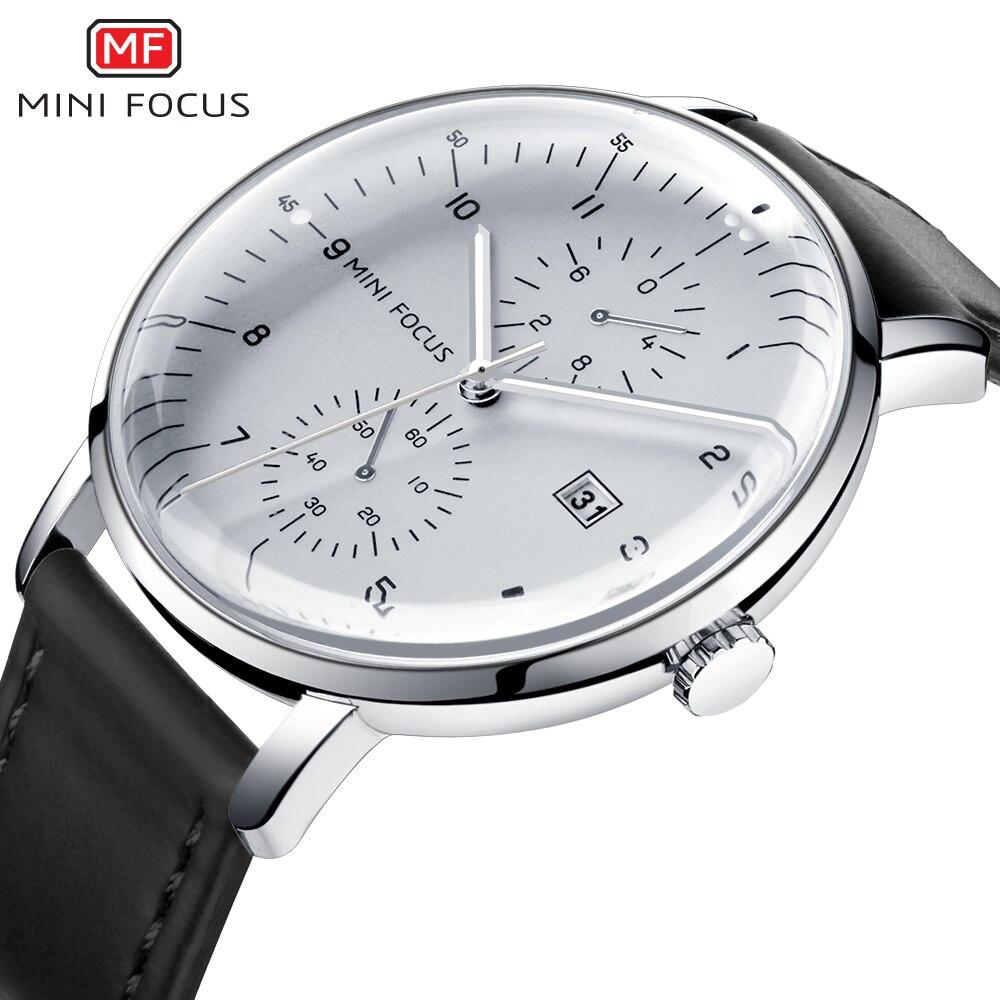 MINI FOCO Mens Relógios Top Marca de Luxo Relógio de Quartzo Homens Calendário reloj hombre relogio masculino À Prova D' Água De Couro Bussiness