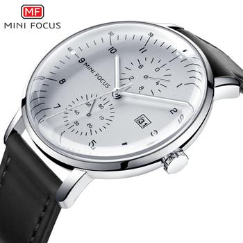 MINI FOCUS męskie zegarki Top marka luksusowy zegarek kwarcowy mężczyźni kalendarz biznes skórzany relogio masculino wodoodporny reloj hombre tanie i dobre opinie MINIFOCUS 23 6cm Moda casual QUARTZ 3Bar Klamra Stop 12 3mm Kryształ Kwarcowe Zegarki Na Rękę Papier Skóra 42mm MF0052G