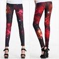 2014 new women' spring autumn sexy slim elastic deep red starry sky ankle length legging