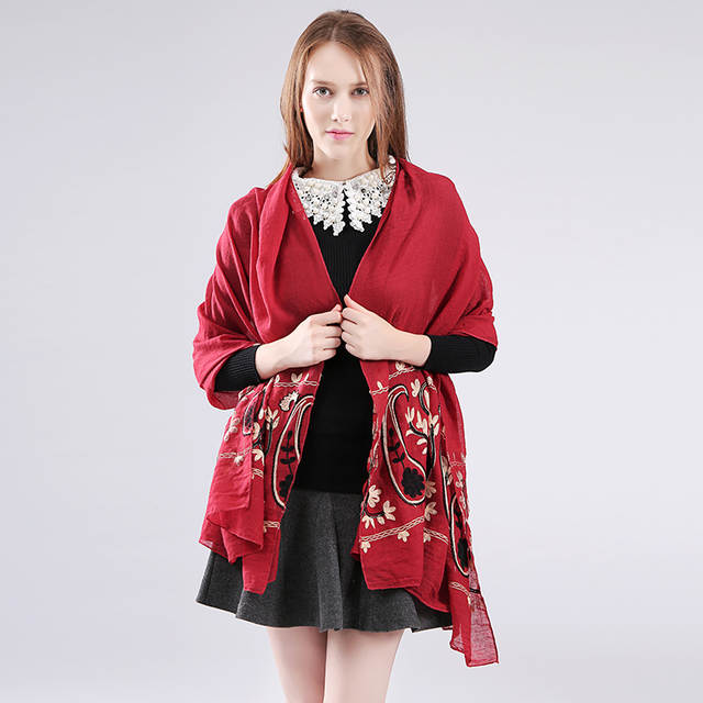 d3d1896186268 Marte&Joven Newest Womens Floral Embroidery Big Size Cotton Pashmina Shawl  Ladies Fashionable Blue Long Winter Scarf Wrap Sale-in Women's Scarves from  ...