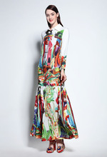 Women Autumn long sleeves Shirt dress European style fruits print maxi Fashion Boho D780