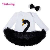 Cute Mouse Printed Baby Girl Tutu Dress Cotton Bodysuit Headband Legging Shoes 4 Pcs Long Sleeve