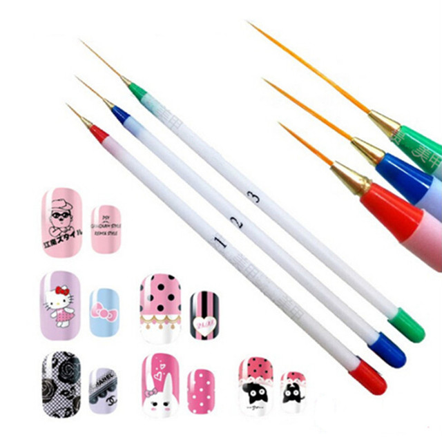 3pcs Nail Pen Art Design Dotting Paint Drawing Brush Tools French