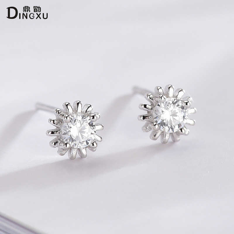 DINGXU 100% 925 スターリング SilverStud イヤリングジュエリー 2019 ファッション雪の花のギフトエーデルワイスブリリアントリアルジルコン