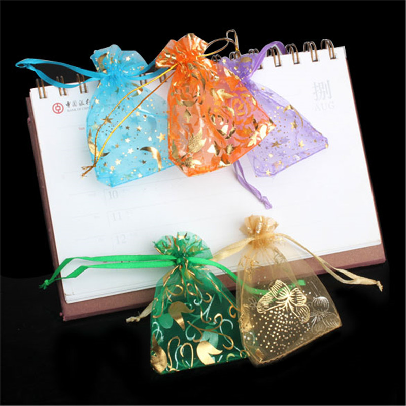 50pcs Organza Jewelry Candy Pendent Mixed Color Mini Gift Bag Pouch Wedding Candy Bags