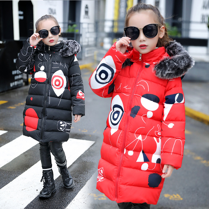 Teenage Girls 2018 New Black Red Thick Coat Winter Wear Costume For Size 5-14 Years Child Casual Down Cotton Graffiti Jacket
