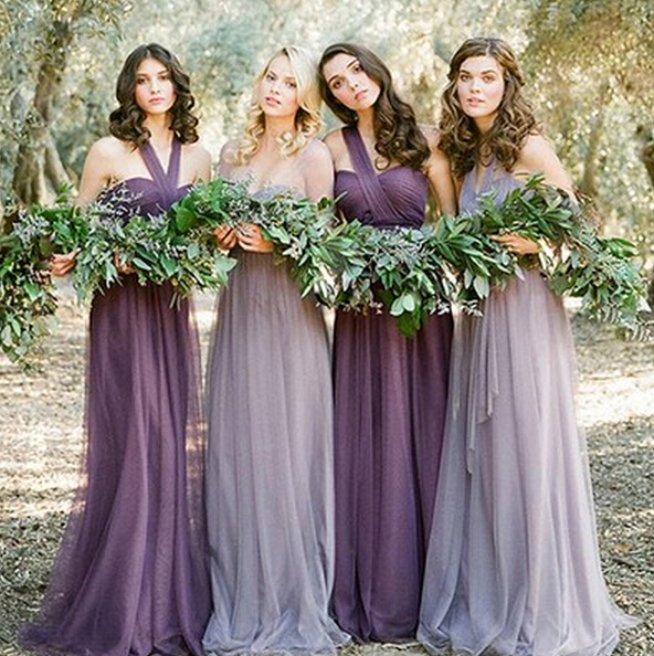 Long 2016 A Line Halter Floor Length Silver Purple Tulle Bridesmaid Dresses Under 50 Wedding Party In From Weddings