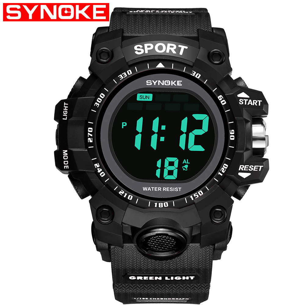 лучшая цена SYNOKE Mens Digital Watch Sports Waterproof Military Watches Outdoor Casual Back Light Alarm Stopwatch Black Watch 9008