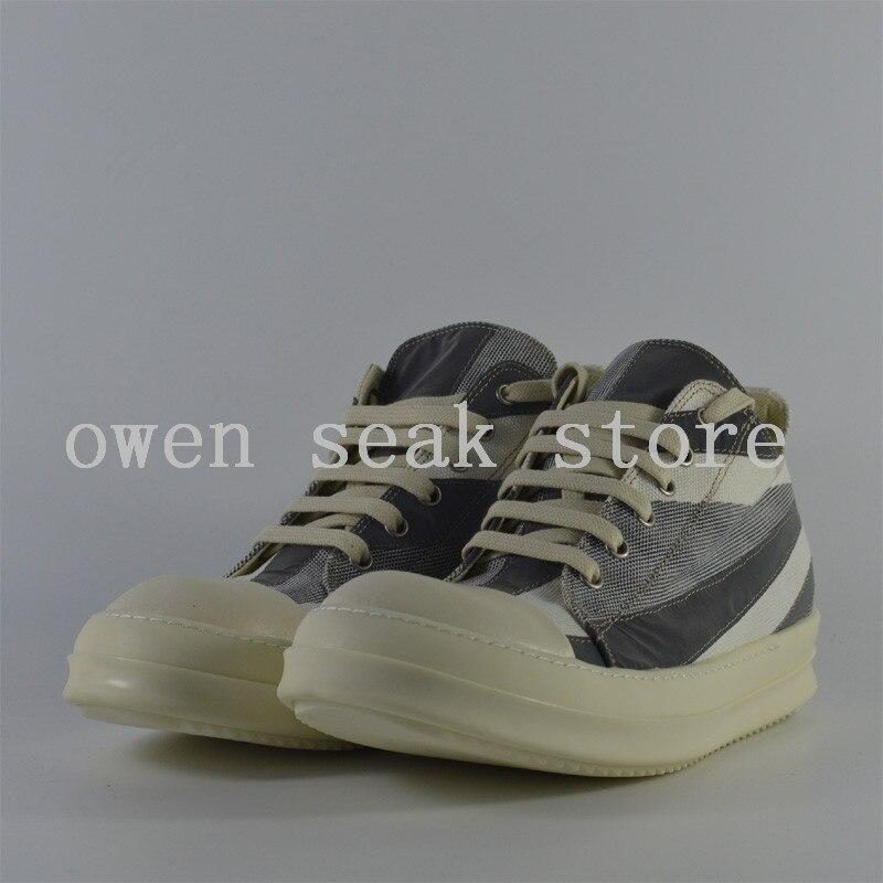 أوين سيك جديد وصول الرجال حذاء قماش عارضة الدانتيل يصل الفاخرة المدربين حذاء رياضة العلامة التجارية الشقق الصيف منخفضة المضاء أحذية كبيرة الحجم-في أحذية رجالية غير رسمية من أحذية على  مجموعة 3
