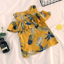 Childrens Suit Cotton Fashion Children Kid Girls Ruffles Pineapple Print Sleeveless Princess Dresses Clothes Yellow Summer FEB26