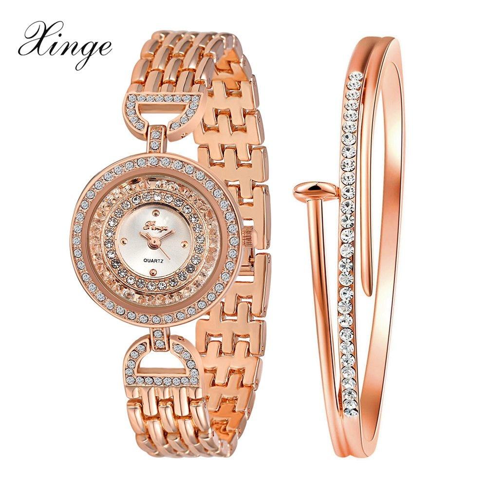 Xinge Brand Popular Women Watches Crystal Bracelet Waterproof Wristwatches Set Ladies Fashion Women Electronics Quartz Watch