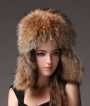 New Unisex Warm Natural Genuine Raccoon Fur Hat Earflaps Sheepskin Cap Real Fur Hats For Women Winter Furs Leather Russian