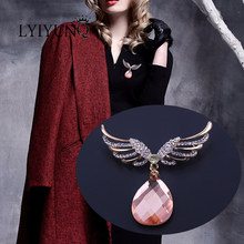 LYIYUNQ Feather Bros Pin Untuk Wanita Mode Emas Warna Big Water Drop Kristal Bros Pin Kostum Perhiasan Pakaian Aksesoris(China)